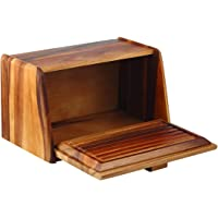 Davis & Waddell D3162 Acacia Wood Bread Box w/Bread Board Lid, Off-White