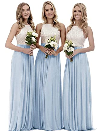 11f29255764 Women s A Line Top Lace Bodice Chiffon Long Bridesmaid Dress Wedding Party  Gown Bady Blue Size