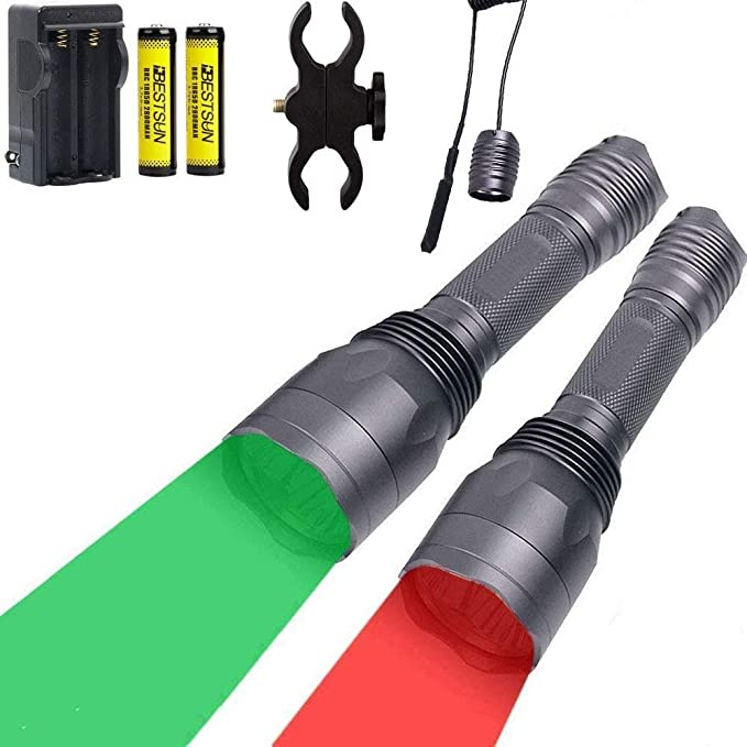 Green//Red LED Hog Night Predator Varmint Hunting Light Torch Scope Mount Battery