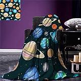 smallbeefly Galaxy Throw Blanket Cute Galaxy Space Art Solar System Planets Mars Mercury Uranus Jupiter Venus Kids Print Warm Microfiber All Season Blanket for Bed or Couch Multi