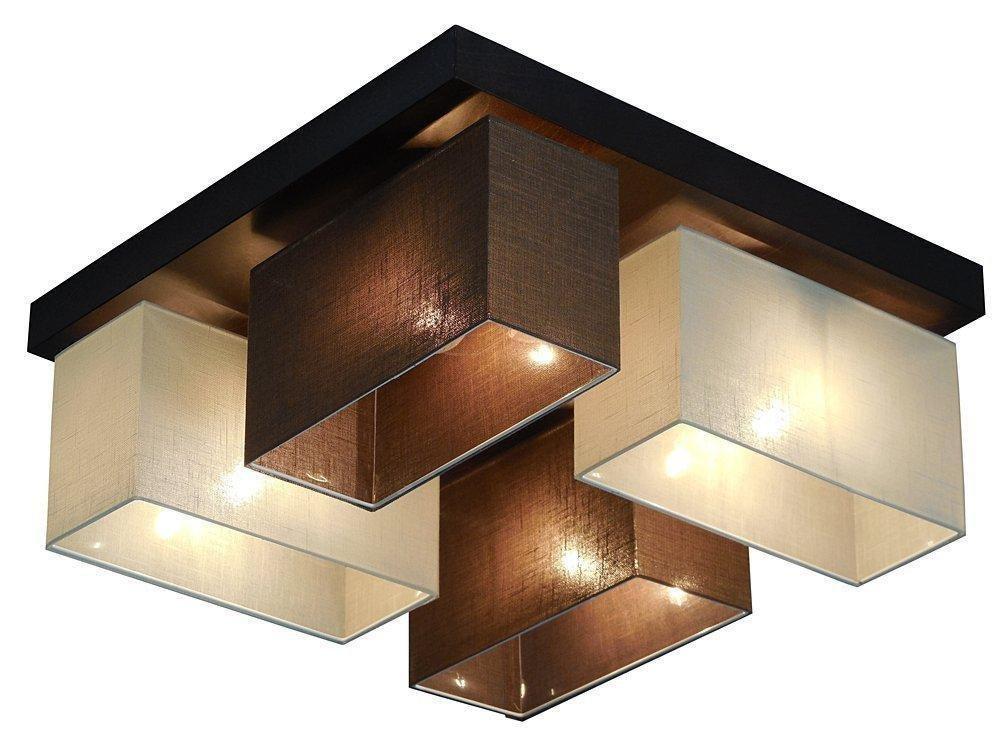 Plafoniera Quadrata E27 : Elegante plafoniera quadrata design con paralume in tessuto