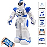 RC Robot Toy Remote Control Electronic Toy Robot Pet Walking Dancing Toys, Robots With LED Lights, Speaking, Walking, Gesture Sensor Robotic for Children Boys Girls Toddlers (Blue)