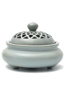 Incienso Quemador de cerámica Antiguo Aromaterapia Estufa-té Ceremonia Incienso Utensilios-Oficina Dormitorio Zen Adornos 11.8 × 9.5 cm (Color : Azul): ...