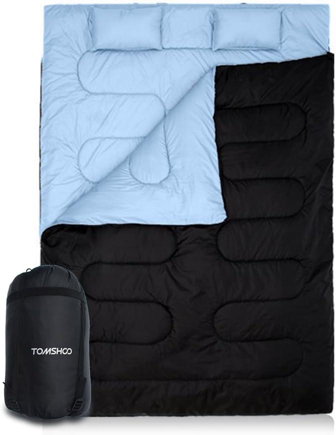 210 * 152cm Se Convierte en 2 Sacos Individuales para Camping TOMSHOO Saco de Dormir Doble Adulto Acampada Excursiones y Actividades al Aire Libre para Todas Las Estaciones