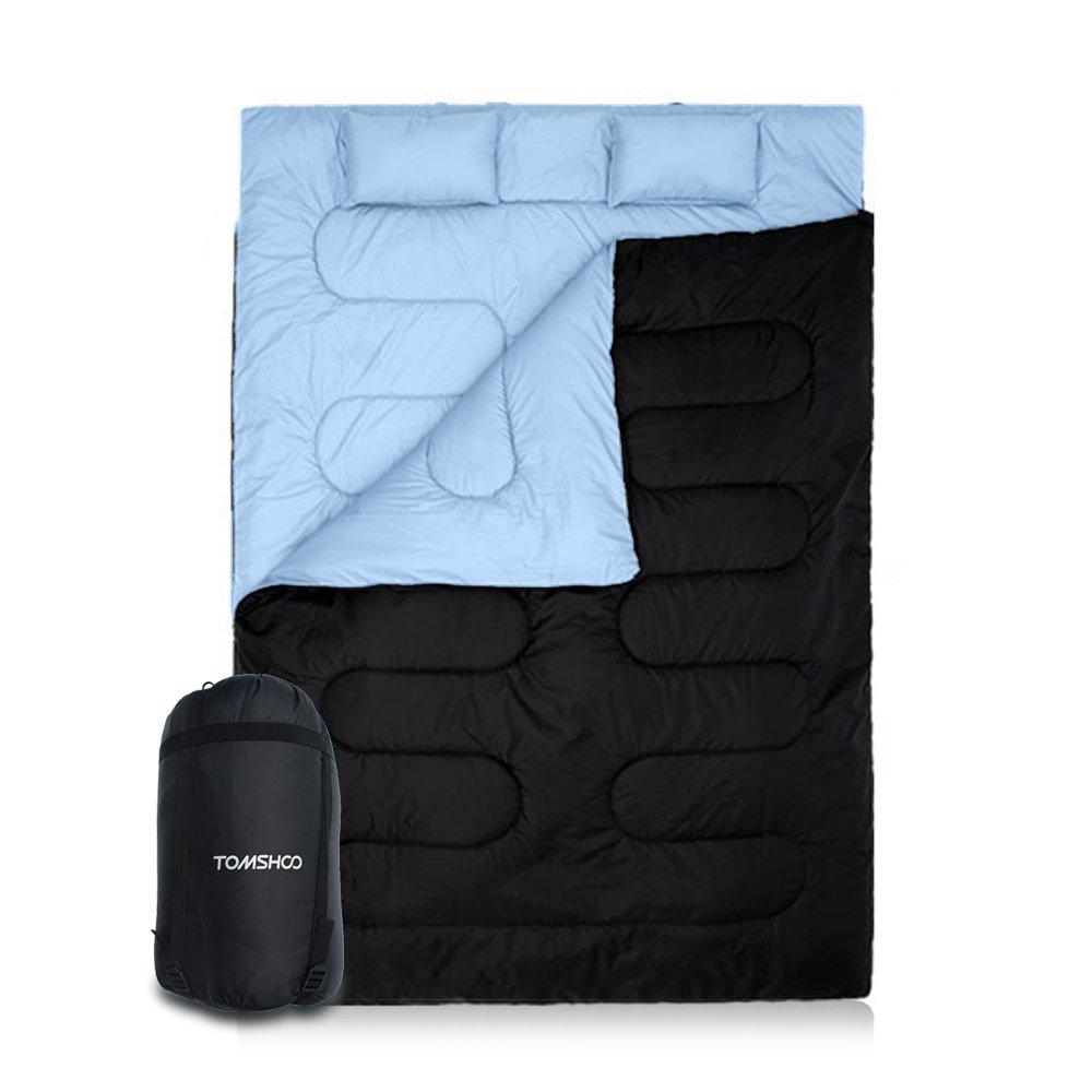 TOMSHOO Saco de Dormir para Dos Personas Doble o Separado 86in×60in -10℃ ~ 0℃ con Dos Cojines para Primavera e Invierno