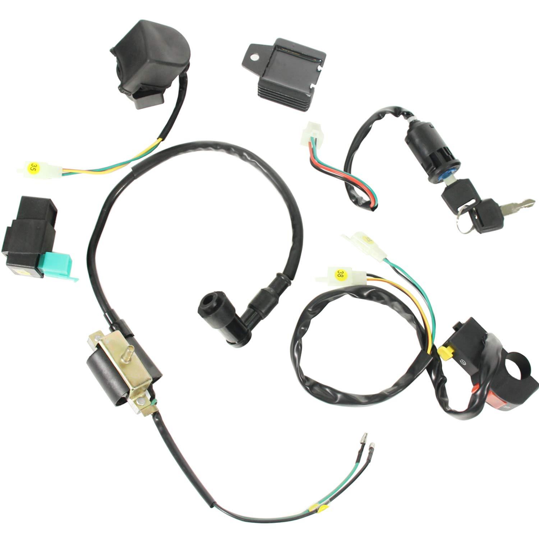 Auutoo Full Kick Electric Start Engine Wiring Harness Loom Coil Cdi Spark Plug Dirt Pit Bike C7hsa 50 70 90 110 125cc Quad Atv Dune Automotive