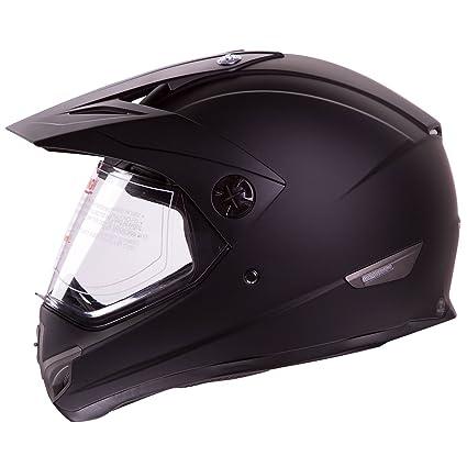 Flat Black Dual Sport Atv Utv Motocross Street Bike Hybrid Helmet DOT (M)