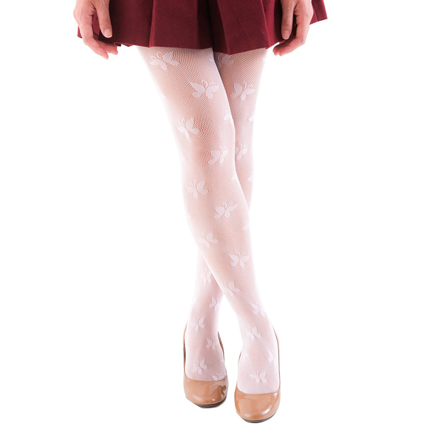 FUN fun Lace fishnet tights(Butterfly pattern) for Girls White/Black/Pink/Beige