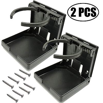 TIHOOD 2PCS Adjustable Folding Drink Holder with Screws/Adjustable Cup Holder for Marine/Boat/Caravan/Car (Black): Automotive