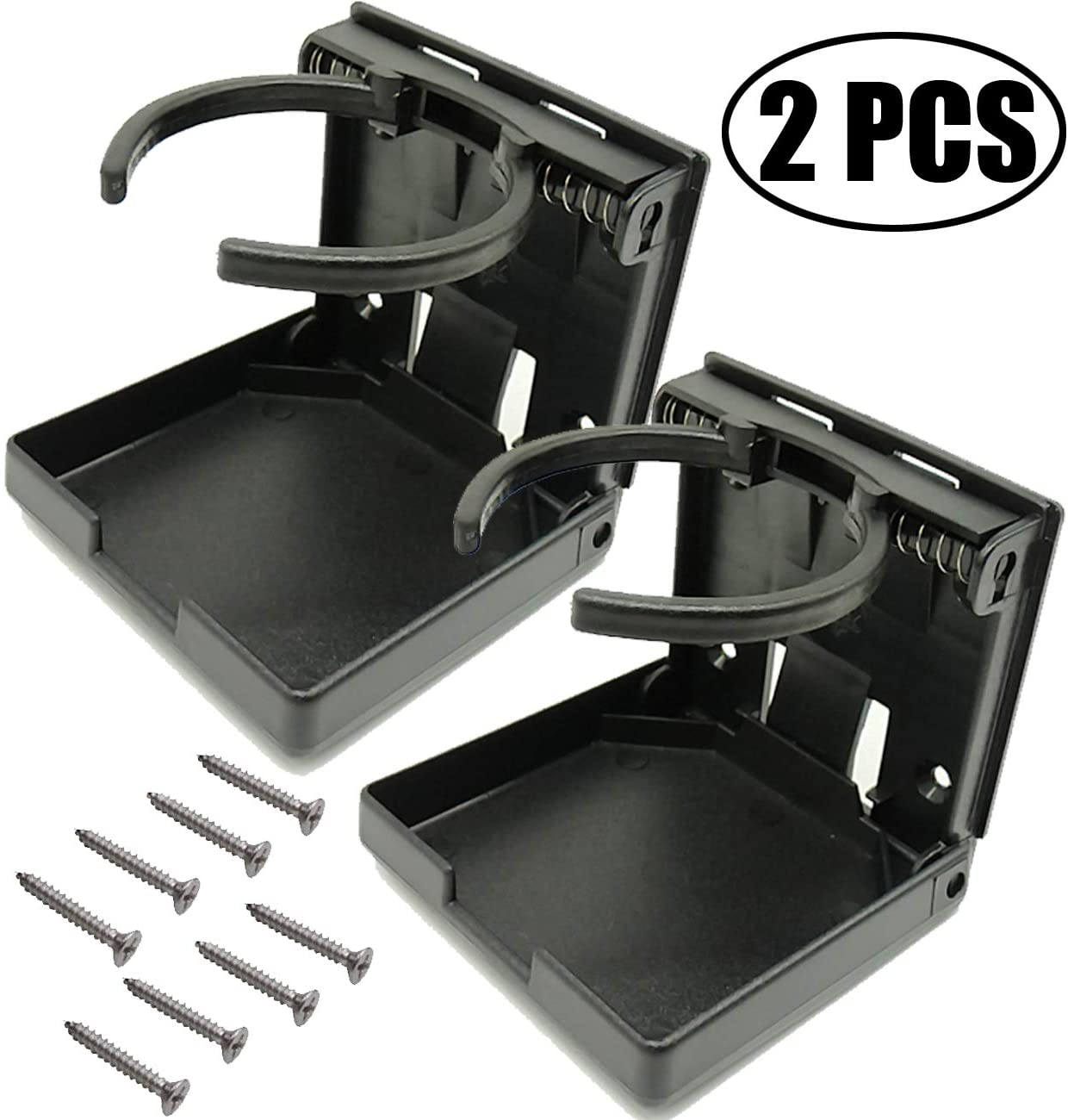 TIHOOD 2PCS Adjustable Folding Drink Holder with Screws/Adjustable Cup Holder for Marine/Boat/Caravan/Car (Black)