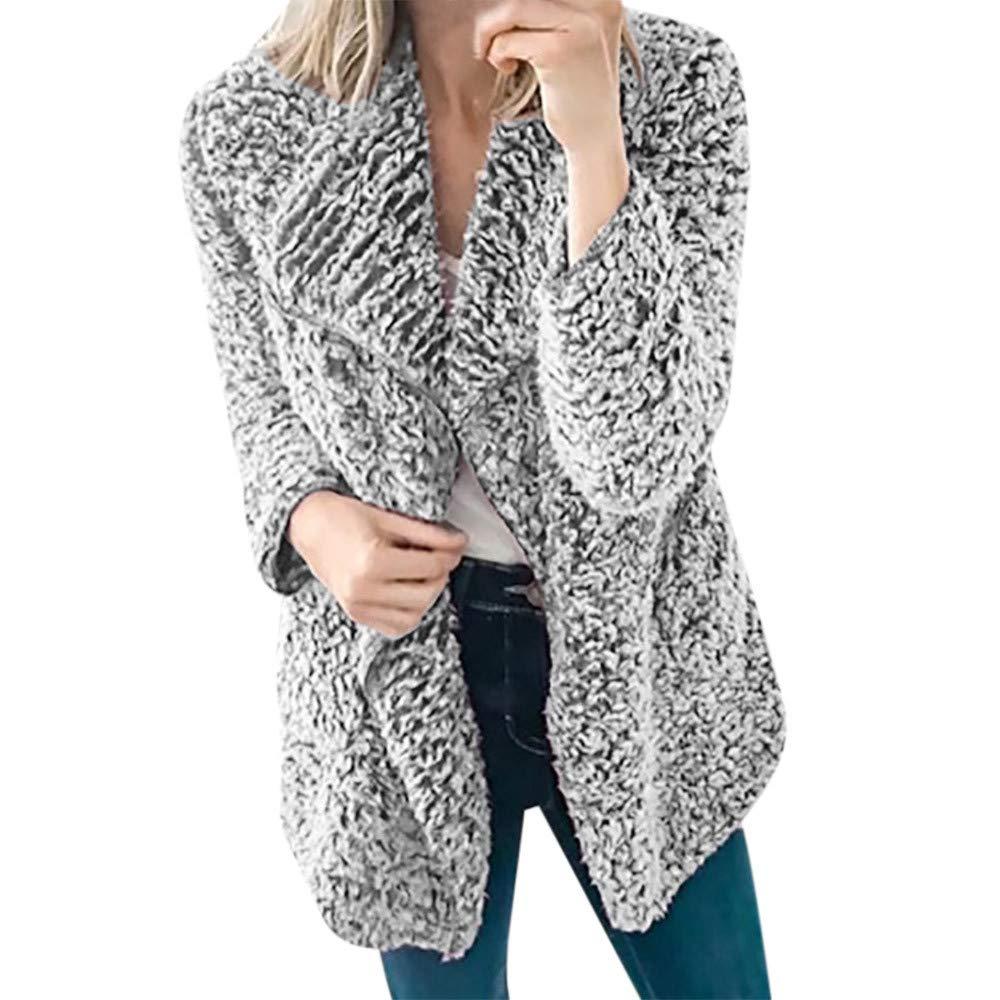 Clearance Womens Casual Toamen Winter Faux Fleece Warm Long Sleeve Thick Open Stitch Outwear Jacket Cardigan Overcoat Outercoat