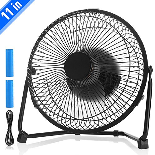 Rechargeable USB 11 inch Desk Fan, Kmike Biggest Battery Operated Portable Personal Fan with 2pcs 2200mAh Batteries, 2 Speeds and Low Noise, Suit for Home, Office and School, Perfect School Supplies