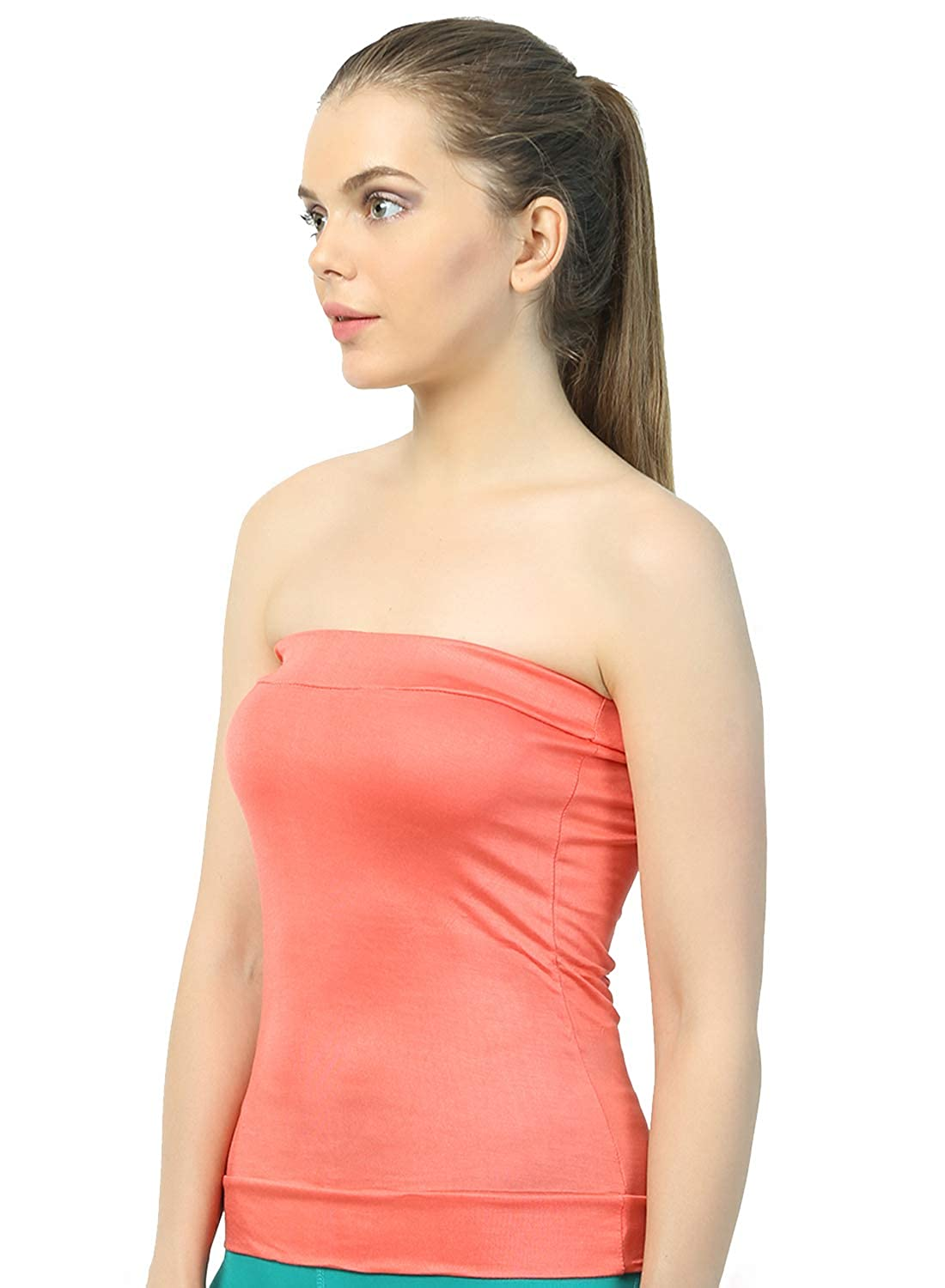 cd077178ce Famila Bralette Bra Sexy Tube Top Camisole for Women Girl Ladies Female  Solid Colour Non-Padded Seamless 4-Way Lycra Tube Top Inner (Famila678 Peach Free  ...