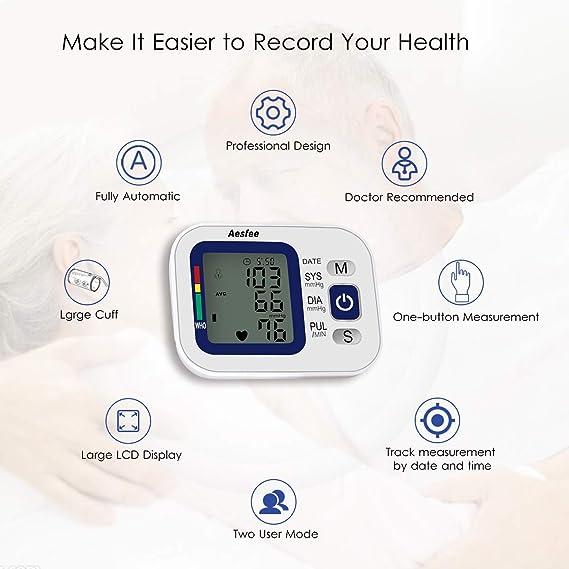 Tensiómetro de Brazo Digital Recargable USB, Monitor Eléctrico de Presión Arterial Medición Automática de la Presión Arterial y Latido Cardíaco para Dos ...