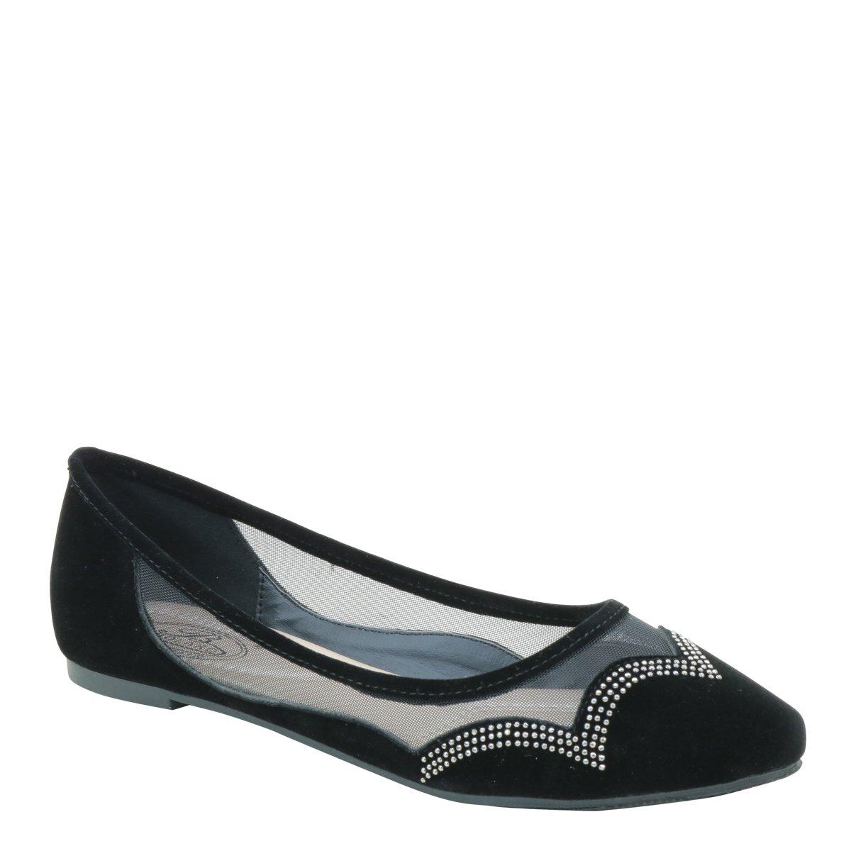 New Brieten Women's Rhinestone Mesh Pointed Toe Flats Comfortable Shoes B06XCBFJGB 6 B(M) US|Black