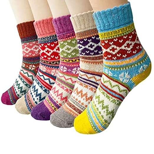 f734a5b1702 5 Pack Womens Vintage Winter Soft Warm Thick Cold Weather Knit Wool ...
