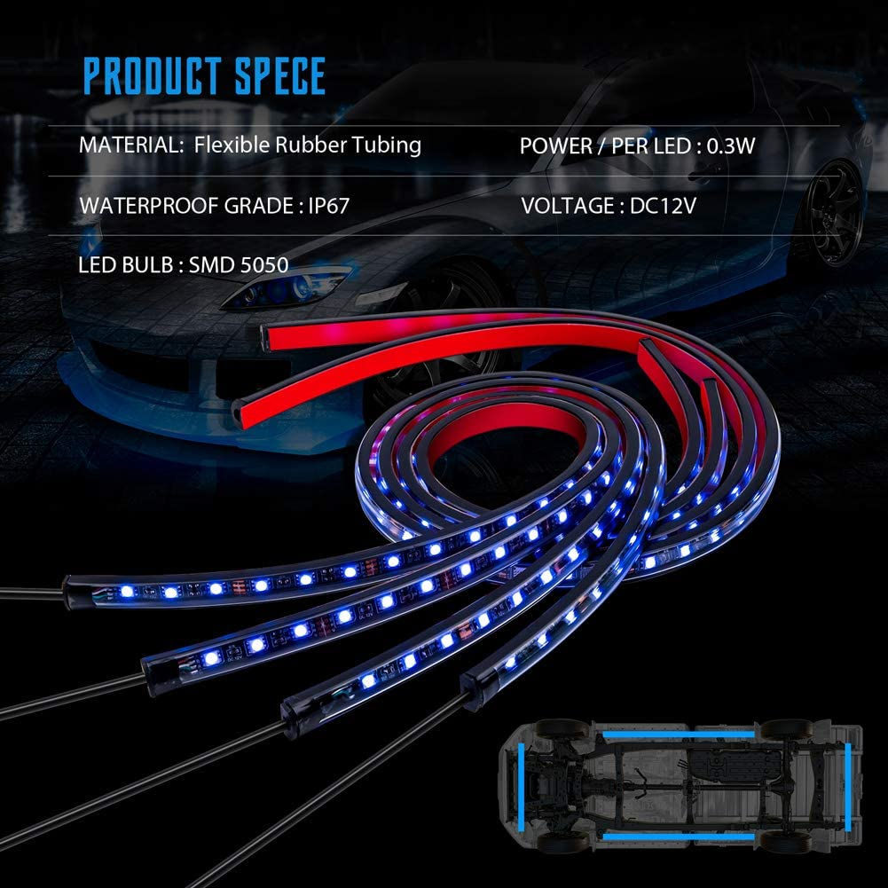 ATV underglow lights kit GOODRUN 4PCsCar LED Strip Light with 5050 LED Light Bulbs Soft Flexible LED Rock Lights w//Sound Active Function and Wireless Remote Control Waterproof Neon LED Strip Lights