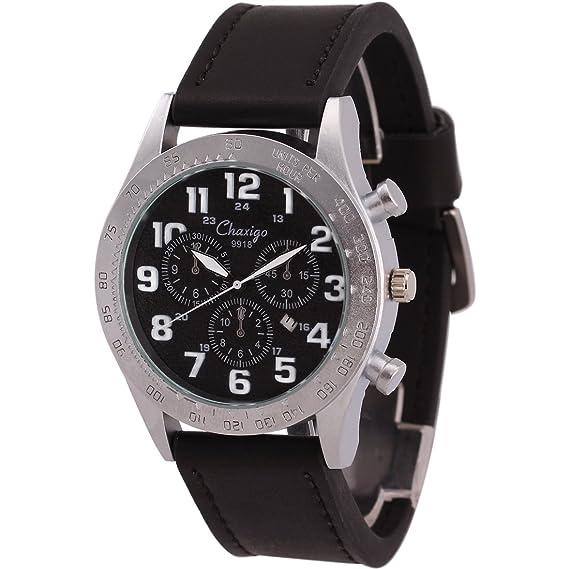Chaxigo Unisex Silver-tone relojes hombre marca famosa reloj de pulsera de cuarzo de piel