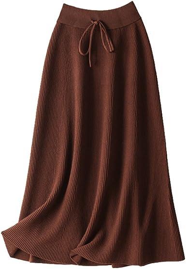 ZhiYuanAN Mujer Falda Maxi De A-Line Con Cordón Color Sólido ...