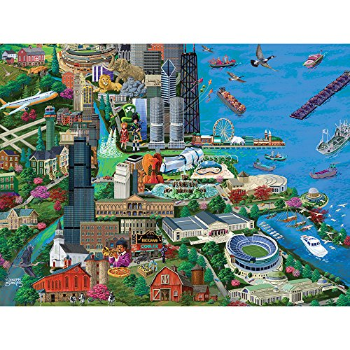 Bits and Pieces - 1000 Piece Jigsaw Puzzle for Adults - Chicago City View - 1000 pc Millennium Park Jigsaw by Artist Joseph Burgess
