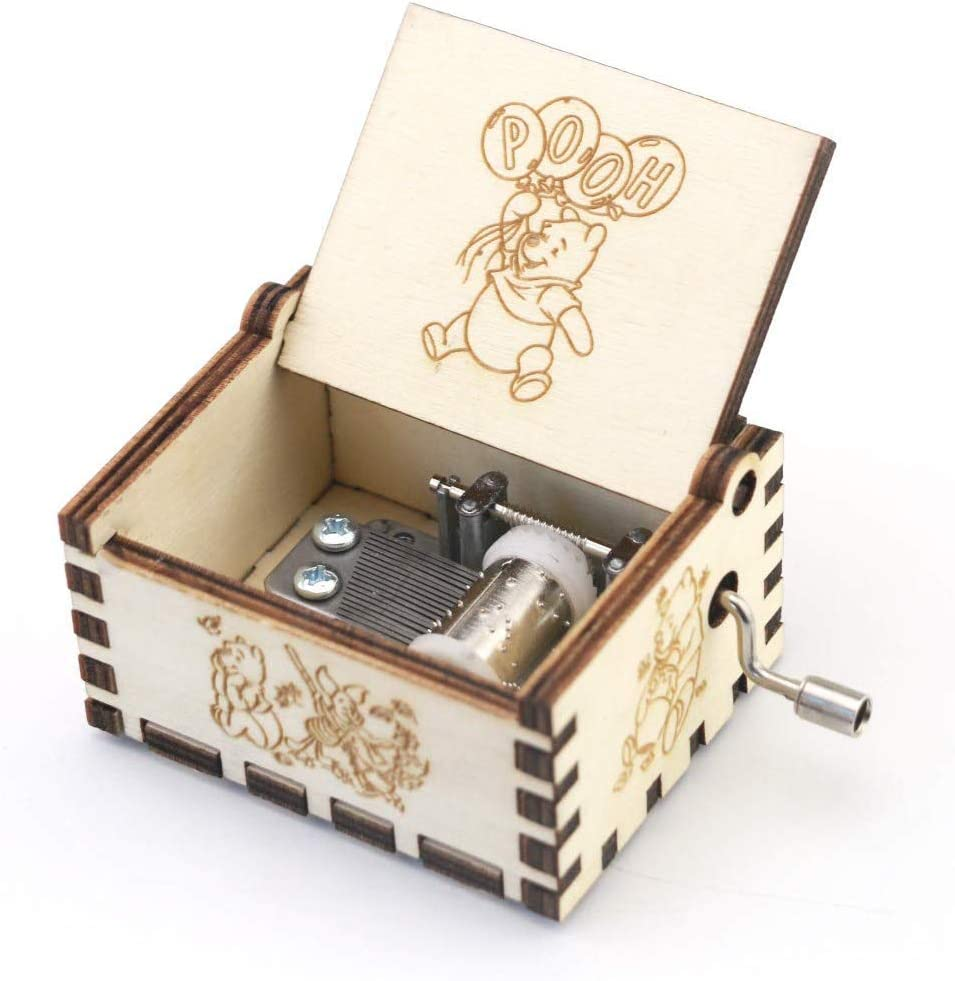 SIQI Winnie The Pooh 18 Note Hand Crank Wood Music Box Antique Engraving Halloween Christmas Birthday Collections Home Office Decoration,Plays Winnie The Pooh(Wooden)