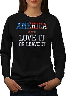 wellcoda America Patriota Donne FelpaAmore o Partire Pullover Casual Pullover