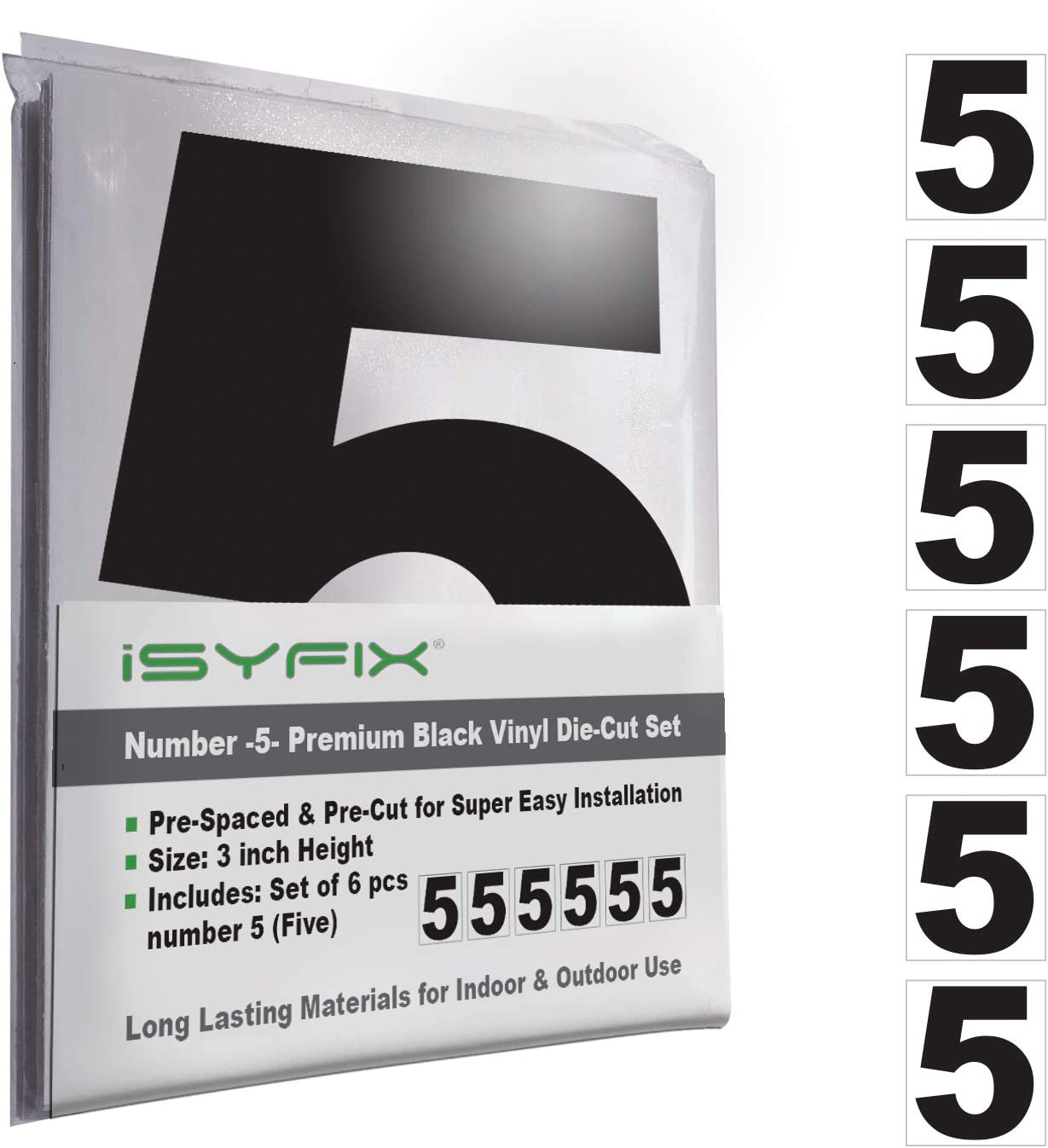 White Vinyl Number 7 Address Number Home 6 Pack 5-Inch Self Adhesive Seven Business Stickers Cars Premium Decal Die Cut /& Pre-Spaced for Mailbox Indoor /& Outdoor Signs Trucks Door
