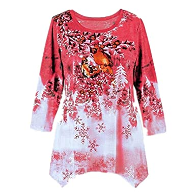 MEIbax Mujeres Casual Moda Sudaderas Camiseta con Dobladillo Irregular Abrigos de navideño Estampado Manga Larga de otoño Invierno Oversize Abrigos Pullover ...