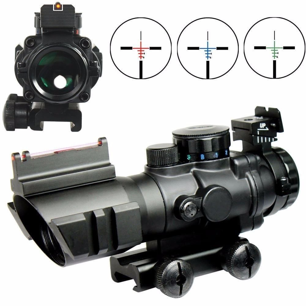 X-Aegis 4x32 Fixed Power Green/Blue/red Illuminated Reticle Compact Rifle Scope with Fiber Optic Sight and Weaver Slots