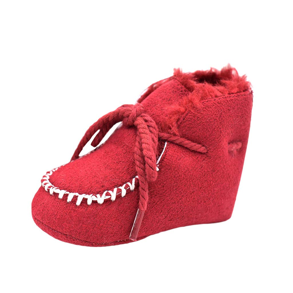 NUWFOR Baby Boy Girl Shoes Baby Snow Boots Baby Shoes Children Toddler Shoes Lace-Up(Red,6-12Months)