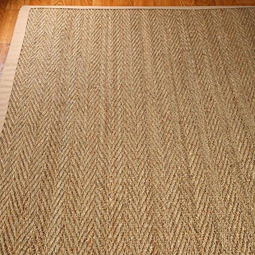 NaturalAreaRugs Four Seasons Seagrass Rug, Handmade, 100% Seagrass, Non-Slip Latex Back, Durable, Stain Resistant, Eco-Friendly (9'x12') Sage/Khaki Border (Seagrass Rug Border)