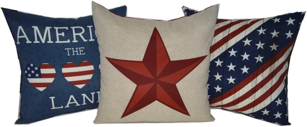 RSH DECOR Set of 3 – Indoor Outdoor 17 Square Decorative Throw Toss Pillows Americana Red, White, Blue, Tan America 4th of July American Pride Freedom Patriotic