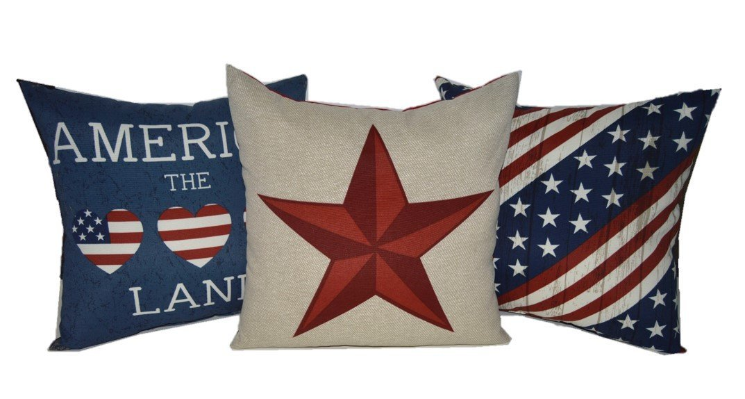 Set of 3 - Indoor / Outdoor 17'' Square Decorative Throw / Toss Pillows - Red, White, Blue, Tan America / 4th of July / American Pride