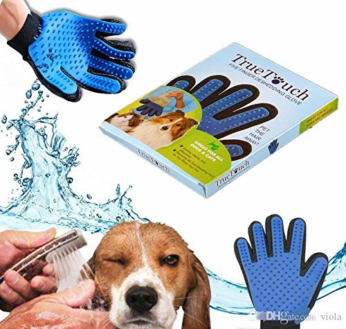 Pet Hair Remover Glove Gentle Pet Grooming Glove Brush Deshedding Glove Massage Mitt with Enhanced 5 Finger Design Perfect for Dogs and Cats with Long and Short Fur  (1 Pack ) (Right-hand)