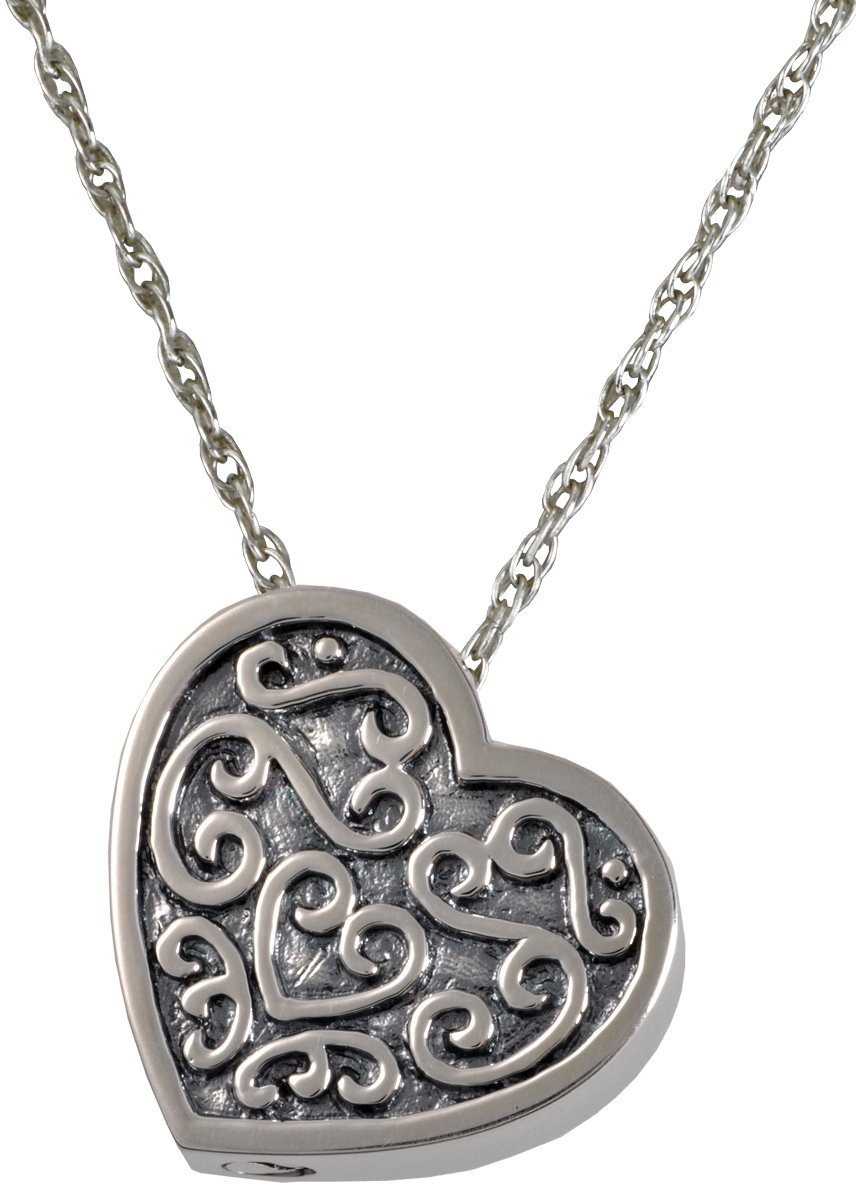 Memorial Gallery MG-3112s Ornate Heart Sterling Silver Cremation Pet Jewelry