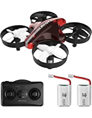 ATOYX AT-66 Mini Drone, RC Nano Quadcopter Auto Hovering Headless Mode 3D Flips 3 Speeds RC Helicopter Plane with Bonus Batteries for Kids and Beginners (Red)