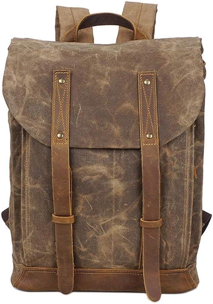 Qiupei Backpack for Men Casual Rucksack Men Oil Wax Leather Canvas Backpack Waterproof College Hiking Travel Bags Outdoor Daypack Hiking Travel Backpack Rucksack School Bag