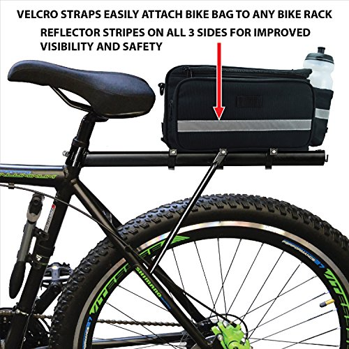 Kolo Sports Bike Pannier Bag | Durable & Waterproof Nylon With Extra Padded Foam Bottom & 3 Side Reflectors | Shoulder Strap Rack Rear Trunk Tote Bag | Strong Velcro, Zipper Pockets & Bottle Case by Kolo Sports (Image #3)