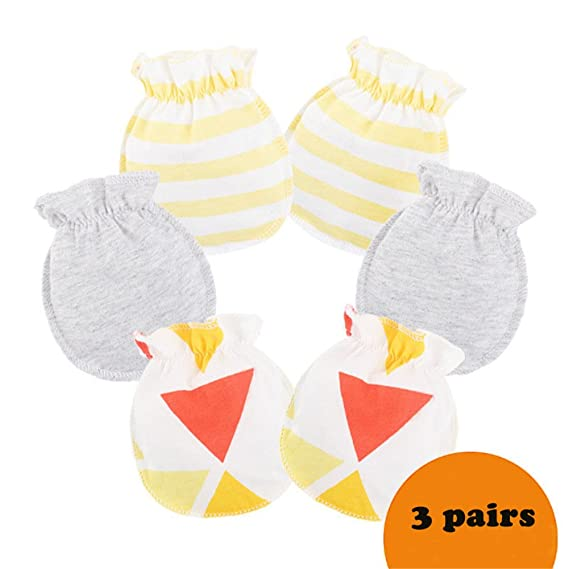d484b3670 Ehdching 3 pack Baby Gloves Cotton no Scratch Mittens for 0-3 months ...