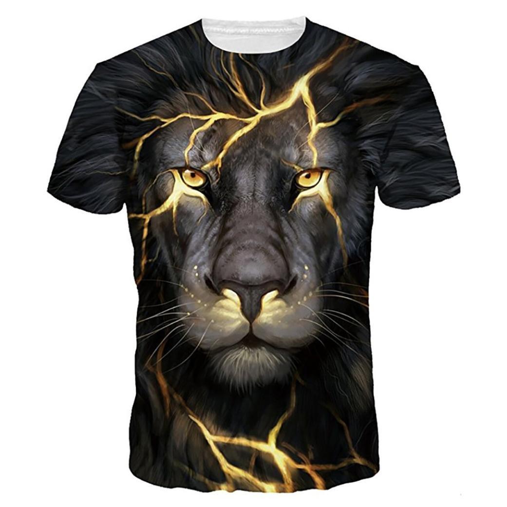 Men Funny T-Shirt ,Vanvler Unisex Animal 3D Print Blouse Lovers Short Sleeve Tops Plus Size (4XL, Black Lion)