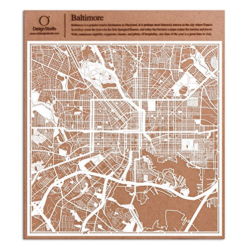 Baltimore Paper Cut Map by O3 Design Studio White 12x12 inches Paper - Maryland Harbor National