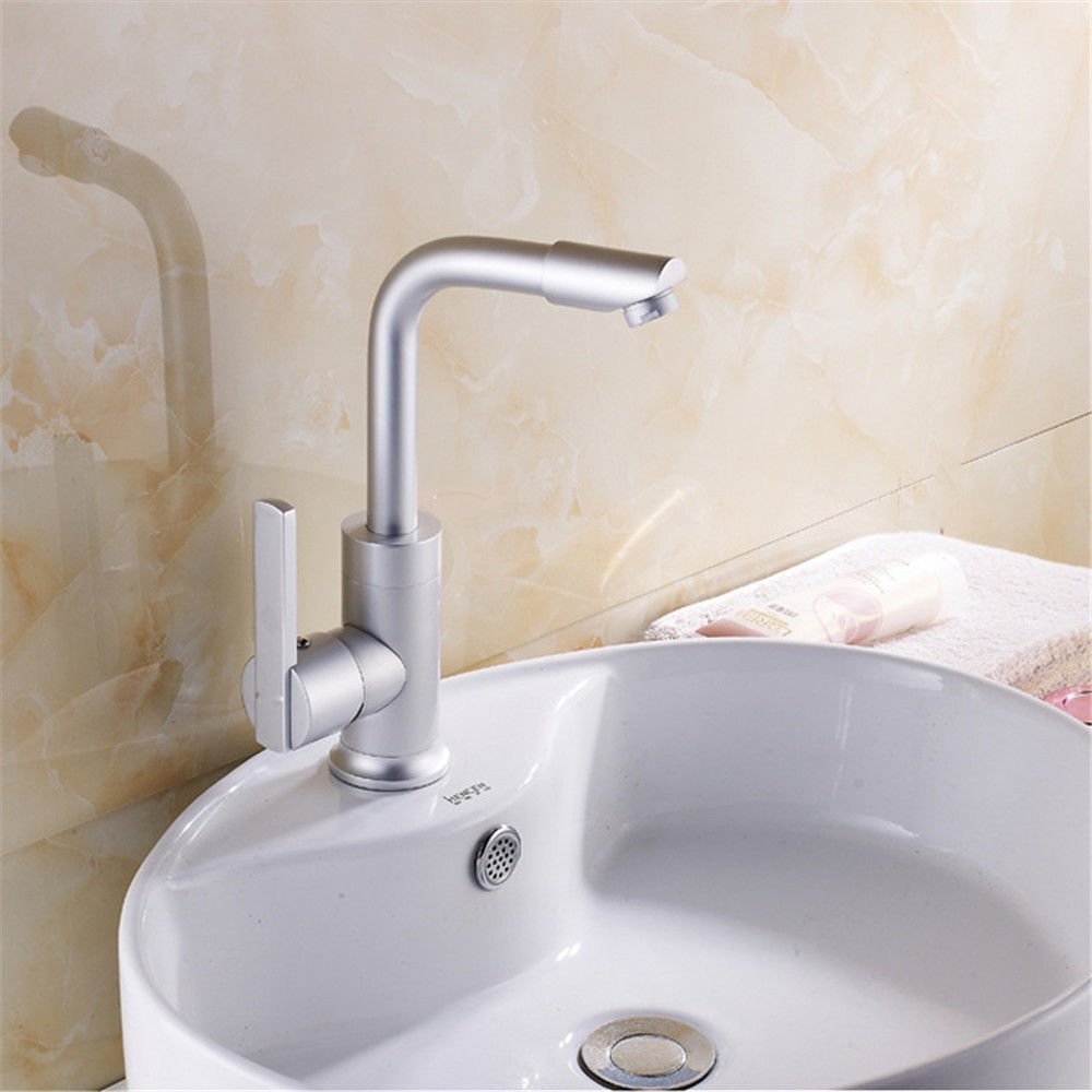 LHbox Basin Mixer Tap The space aluminum faucet basin single-express open faucet 360° rotate freely up and down on the bathroom cabinet basin of cold and hot-water faucet