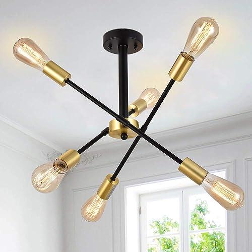 Berliget Brass Gold Black Sputnik Chandelier