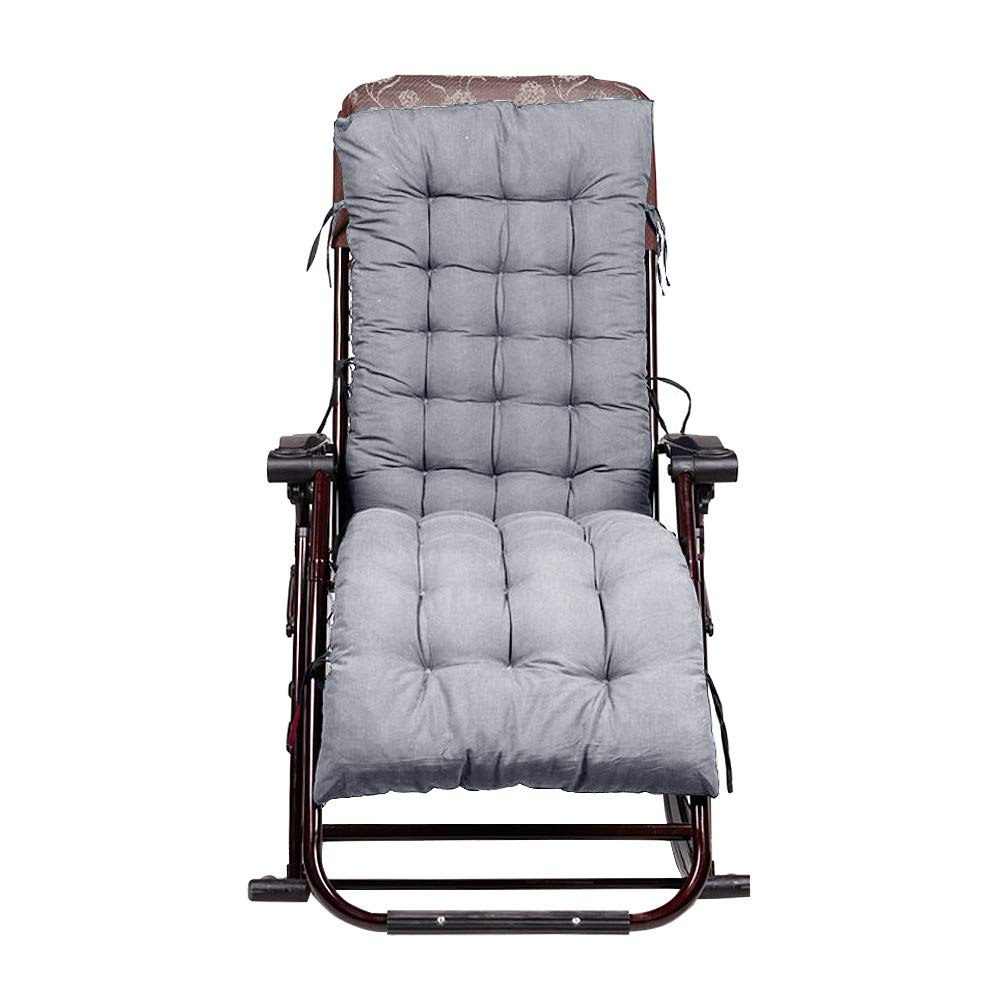 Cuscino per sedie a sdraio per esterni Cuscino per sedie a dondolo imbottito Cuscino per sedie a sdraio Materasso per lettino morbido - nero Yunhigh