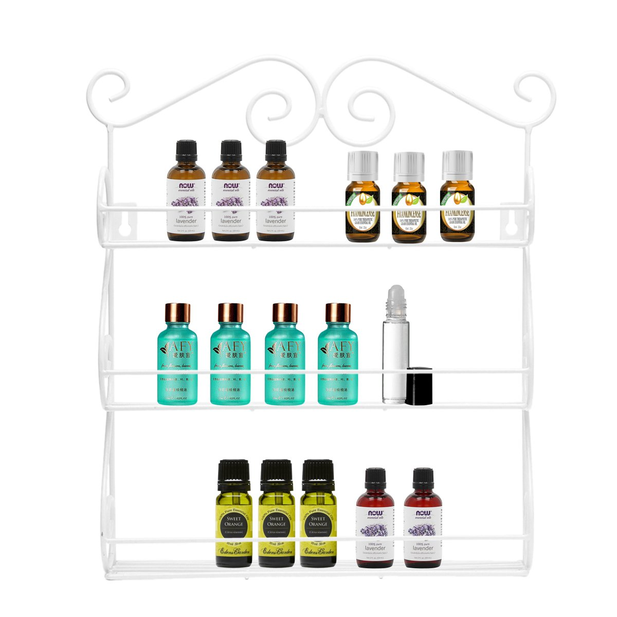 Decorative Wall Mounted 3 Tier Wall Hanging Essential Oil Organizer Nail Polish Holder Kitchen Spice Rack