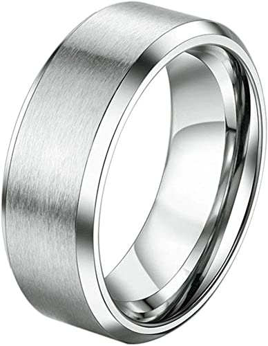 Wedding Bands Classic Bands Domed Bands Stainless Steel 8mm Brushed Band Size 13