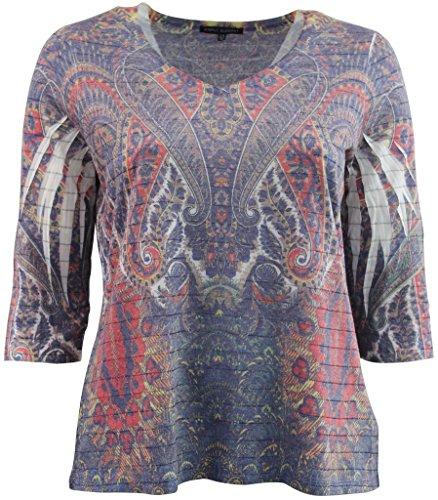 Women's Plus-Size 3/4 Sleeve Knit Top Metallic Silver Lining Tee Shirt Multi Purple 1X G160.01L - Metallic Lace Ruffle Top
