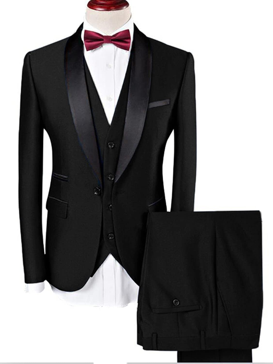 11f90288b9a Three-piece Suit  Jacket+pants+vest(Tie as a gift for you) Design One  Button Blazer