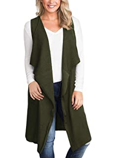 a286660ed656e BBX Lephsnt Women Sleeveless Open Front Knitted Long Cardigan Sweater Vest