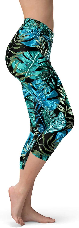 Satori_Stylez Hawaiian Print Green Tropical High Waisted Capri Workout Leggings for Women